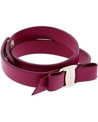 Ferragamo - Vara Leather Bow Wrap Bracelet - Lyst