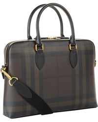 Burberry - The Barrow Checked Saffiano Briefcase - Lyst