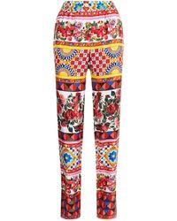 Dolce & Gabbana - Mambo Print Silk Trousers - Lyst