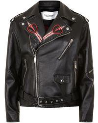 Valentino - Love Blades Embroidered Leather Biker Jacket - Lyst