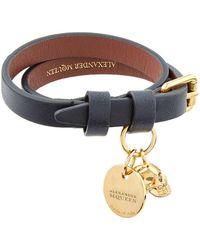 Alexander McQueen - Leather Double Wrap Skull Bracelet - Lyst