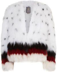 Lilly E Violetta - Stripe Trim Fox Fur Jacket - Lyst