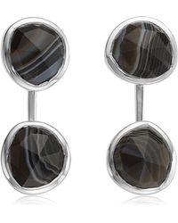 Monica Vinader - Siren Black Line Onyx Jacket Earrings - Lyst