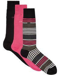 CALVIN KLEIN 205W39NYC - Assorted Stripe Solid Socks (set Of 3) - Lyst