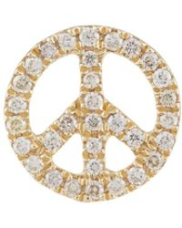 Sydney Evan - Yellow Gold And Diamond Peace Earring - Lyst