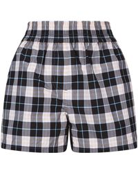Burberry - Check Cotton Shorts - Lyst