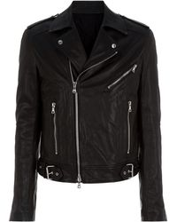 Balmain - Logo Embossed Leather Jacket - Lyst
