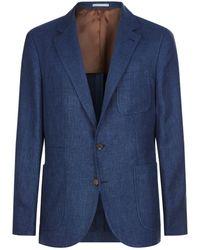 Brunello Cucinelli - Hopsack Wool-silk Blend Jacket - Lyst