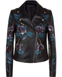 Elie Saab - Floral Embellished Leather Jacket - Lyst