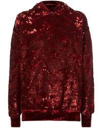 Forte Couture - Velvet Trim Sequin Hoodie - Lyst
