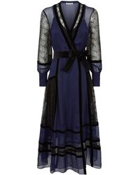 Diane von Furstenberg - Forrest Organza And Lace Midi Dress - Lyst