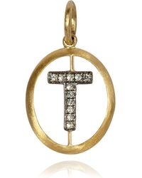 Annoushka - Yellow Gold And Diamond Initial T Pendant - Lyst