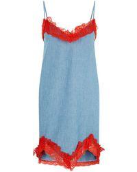 Pinko - Lace Trim Chambray Dress - Lyst