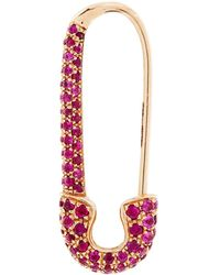 Anita Ko - Rose Gold And Ruby Safety Pin Earring - Lyst
