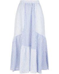 120% Lino - Striped Midi Skirt - Lyst