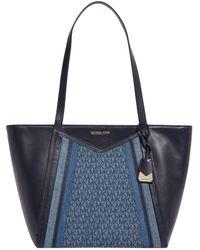 MICHAEL Michael Kors - Large Denim Whitney Logo Tote Bag - Lyst