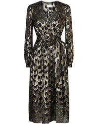 MILLY - Katy Metallic Wrap Dress - Lyst