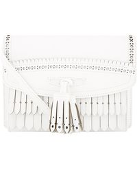Burberry - Small Macken Leather Shoulder Bag, White - Lyst