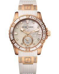 Ulysse Nardin - Rose Gold And Diamond Lady Diver Watch 40mm - Lyst