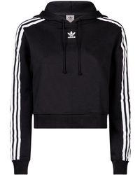 adidas Originals - Cropped 3-stripe Hoodie - Lyst