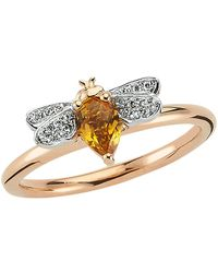 Bee Goddess | Rose Gold Diamond And Citrine Queen Bee Ring, Yellow, One Size | Lyst
