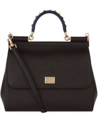 Lyst - Dolce   Gabbana Medium Sicily Leather Top Handle Satchel in Gray 0c823bd24c711