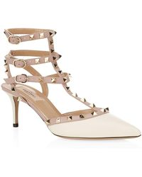 Valentino - Rockstud Ankle Strap Pumps Light Ivory - Lyst