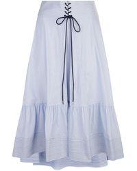 3.1 Phillip Lim - Lace Front Pinstripe Midi Skirt - Lyst