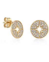 Sydney Evan - Yellow Gold Mini Starburst Stud Earrings - Lyst