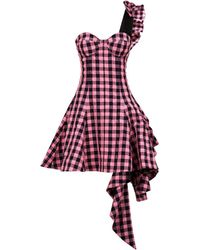 Natasha Zinko - One-shoulder Gingham Dress - Lyst