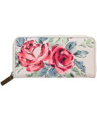 Cath Kidston - Birthday Rose 25th Anniversary Continental Wallet, Cream - Lyst