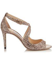 Jimmy Choo - Glitter Emily Heeled Sandals 85 - Lyst