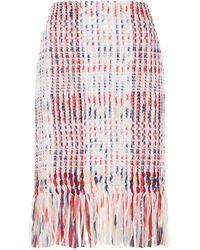 St. John - Plaid Fringe Skirt - Lyst