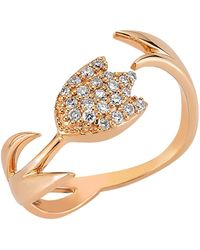 Bee Goddess - Rose Gold And Diamond Tulip Ring - Lyst