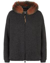 Brunello Cucinelli - Reversible Fur Trim Hoodie - Lyst