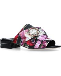 5d183f7a6c58 Lyst - Gucci Princetown Donald Duck Brocade Slippers in Pink