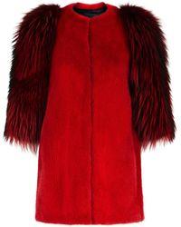 Lilly E Violetta - Contrast Sleeve Fur Jacket - Lyst