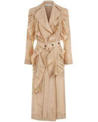 Victoria Beckham - Silk Ruffle Trench Coat - Lyst