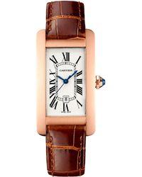 Cartier - Medium Pink Gold Tank Amricaine Watch 22mm - Lyst