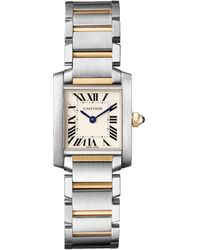 Cartier - Small Stainless Steel And Yellow Gold Tank Franaise Watch 20mm - Lyst