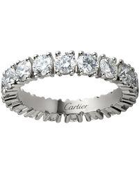 Cartier - Medium Platinum And Diamond Destine Ring - Lyst