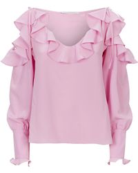 Stella McCartney - Ruffled Cold Shoulder Top - Lyst
