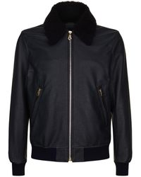 Paul Smith - Shearling Collar Aviator Jacket - Lyst