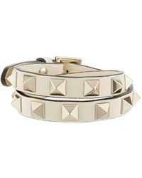 Valentino - Leather Rockstud Double-wrap Bracelet, Cream, One Size - Lyst