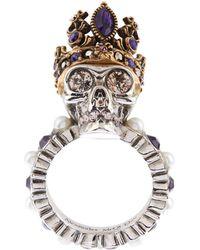 Alexander McQueen - Crystal Queen Skull Ring - Lyst