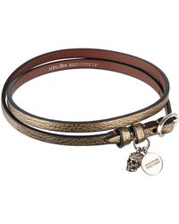 Alexander McQueen - Metallic Leather Wrap Bracelet - Lyst
