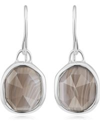 Monica Vinader - Siren Grey Agate Wire Earrings - Lyst