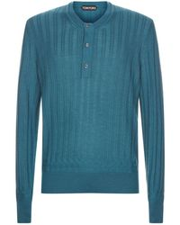 Tom Ford - Ribbed Henley T-shirt - Lyst