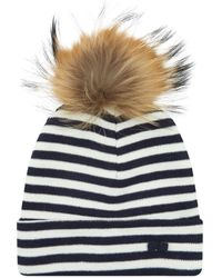 Claudie Pierlot - Striped Bobble Hat, Blue, One Size - Lyst