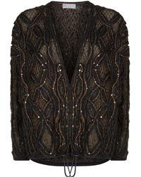 Brunello Cucinelli - Loose Knit Sequin Cardigan - Lyst